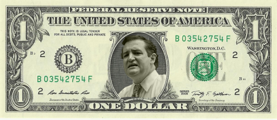 Ted Cruz in U.S. Dollar